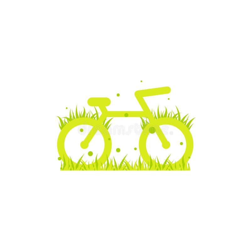 Зеленый велосипед со значком травы Плоский логотип велосипеда изолированный на белизне r Символ перехода Eco бесплатная иллюстрация