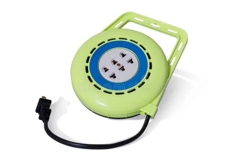 Зеленый вьюрок электрического кабеля расширения стоковое изображение rf