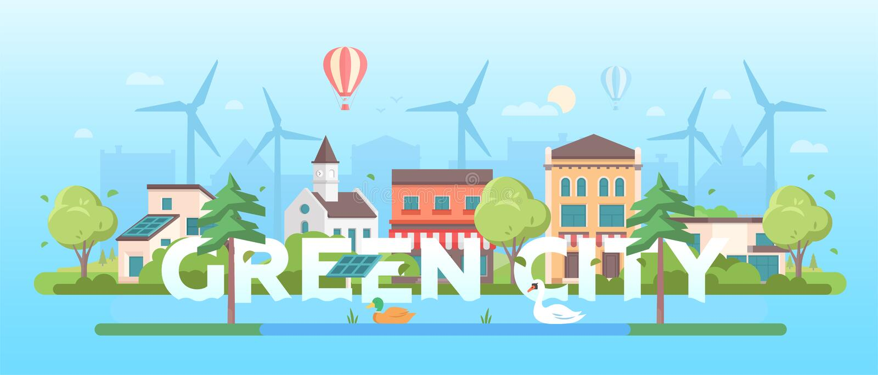Зеленый город - современная плоская иллюстрация вектора стиля дизайна бесплатная иллюстрация