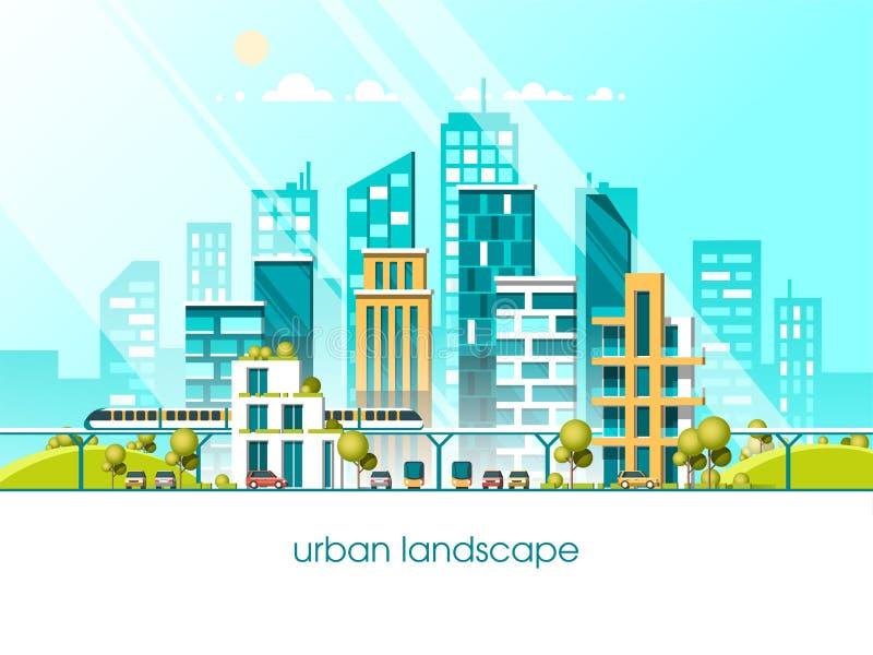 Зеленый город энергии и eco дружелюбный Стиль иллюстрации 3d вектора современной архитектуры плоский иллюстрация штока