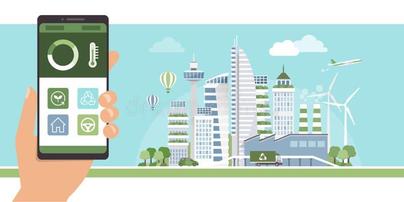 Зеленый город app иллюстрация вектора