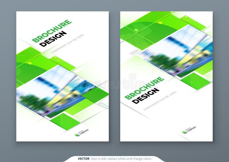 Зеленый дизайн плана шаблона крышки брошюры Годовой отчет корпоративного бизнеса, каталог, журнал, модель-макет летчика r бесплатная иллюстрация