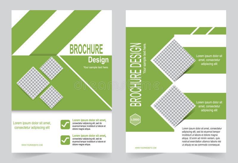 Зеленый дизайн рогульки шаблона брошюры, абстрактный шаблон иллюстрация вектора