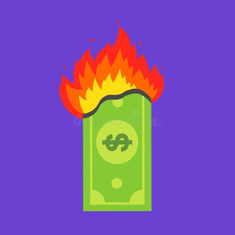 Зеленый доллар горит финансовый кризис иллюстрация вектора