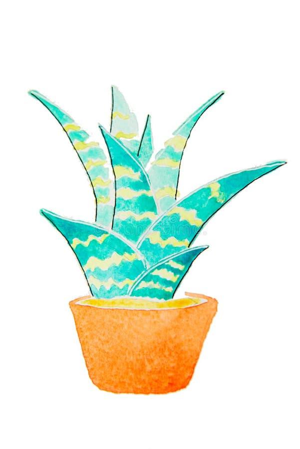 Зеленый домашний завод в иллюстрации шаржа цветочного горшка иллюстрация вектора