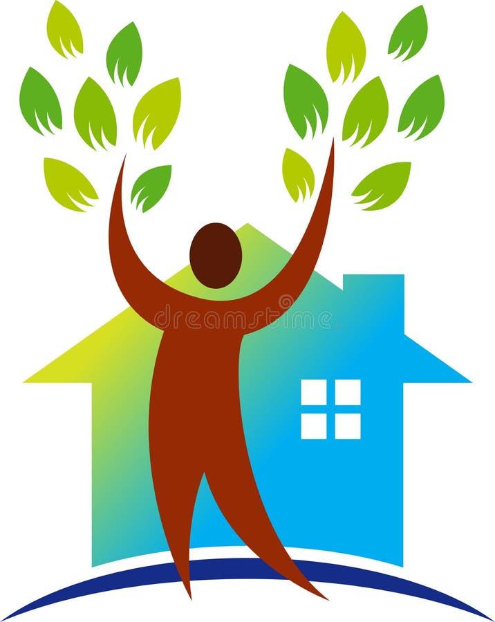 Зеленый дом окружающей среды иллюстрация вектора
