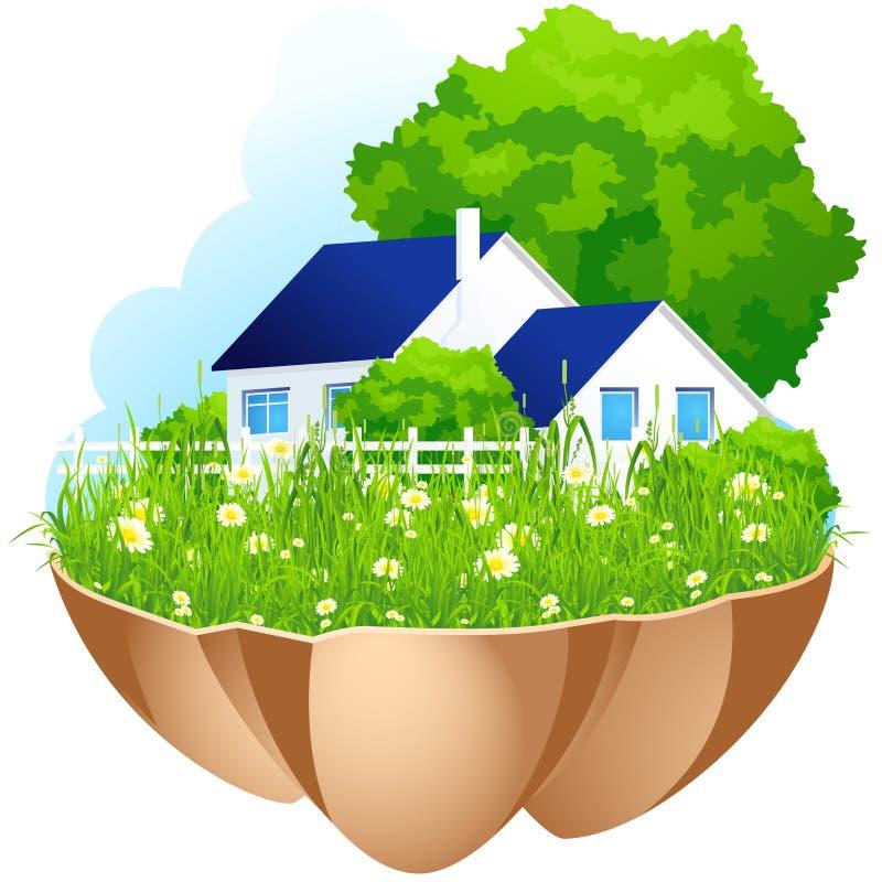 зеленый дом бесплатная иллюстрация