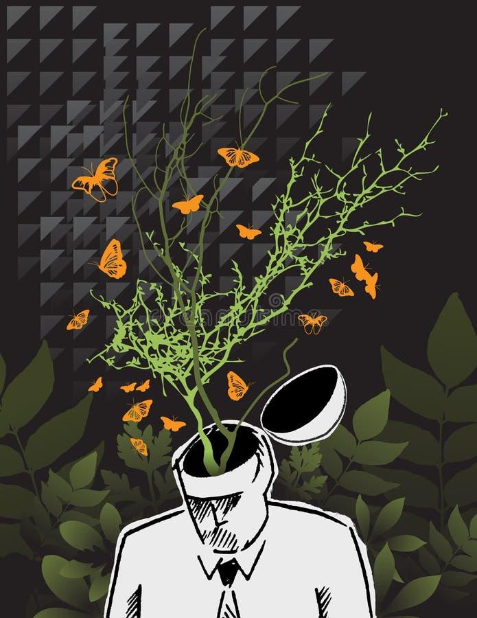 зеленый думать идей иллюстрация вектора
