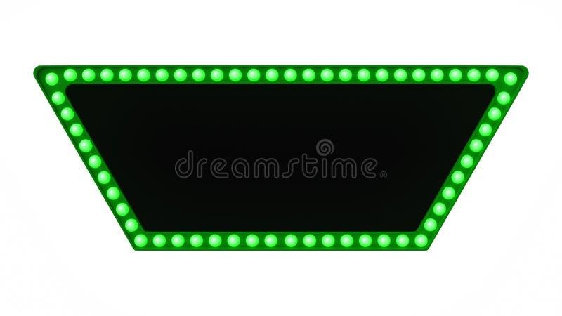 Зеленый знак доски света шатёр ретро на белой предпосылке перевод 3d стоковые фотографии rf