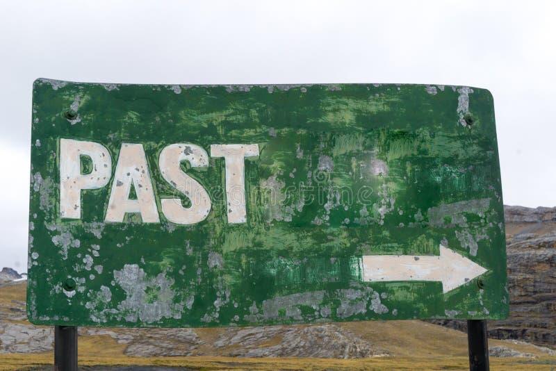 Зеленый знак с словом прошлым и стрелкой стоковое изображение rf