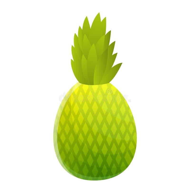 Зеленый значок ананаса, стиль мультфильма иллюстрация вектора