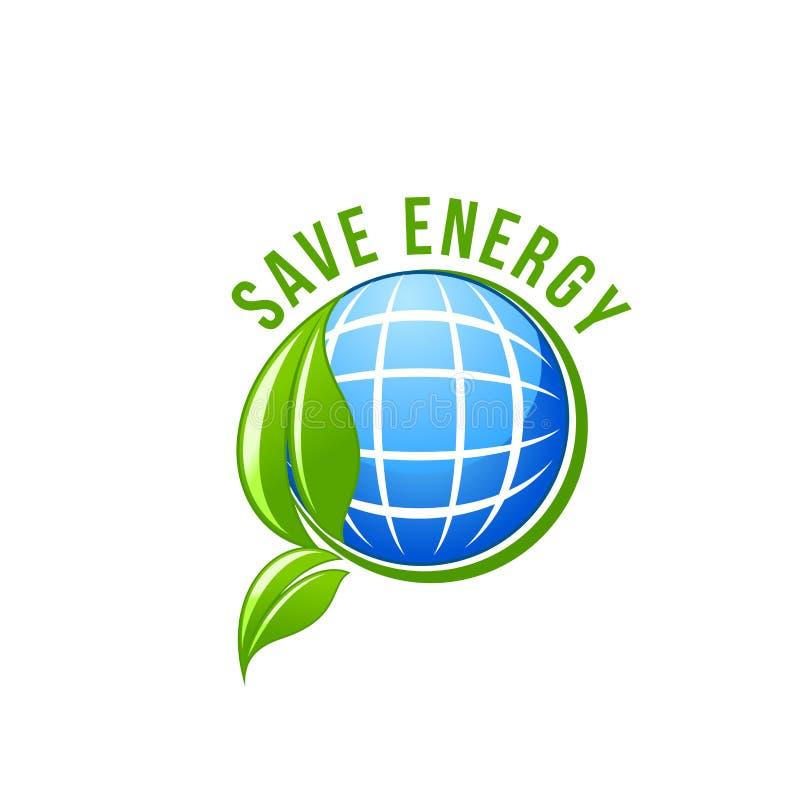 Зеленый значок вектора земли спасения экологичности планеты энергии иллюстрация штока