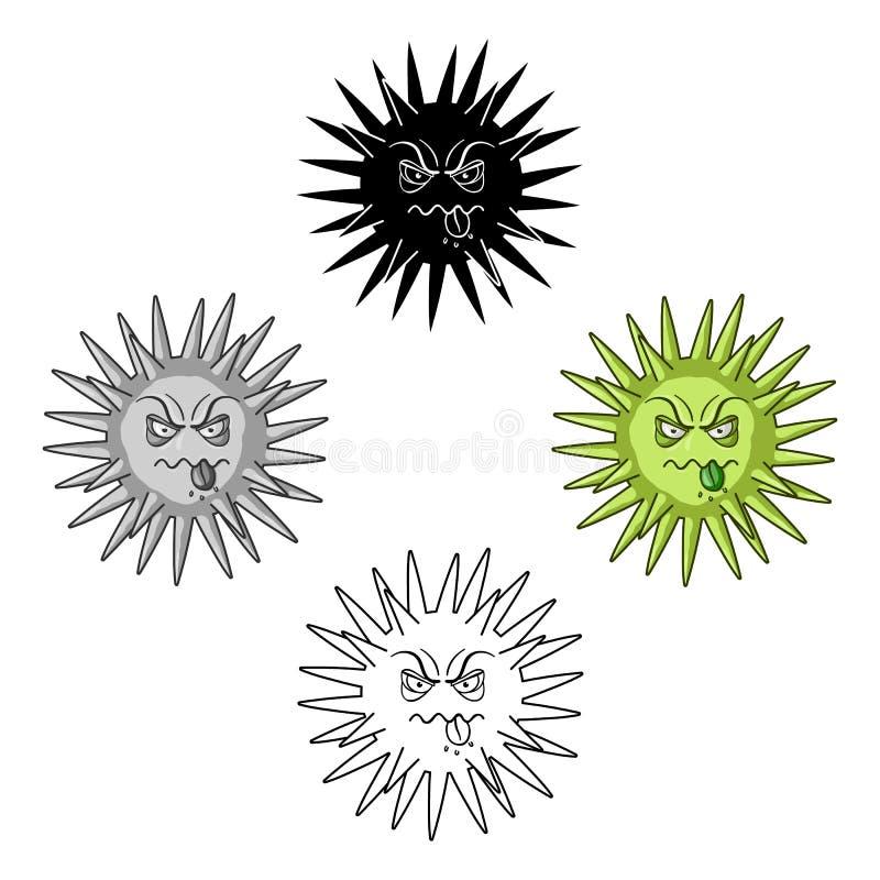 Зеленый значок вируса в мультфильме, черном стиле изолированном на белой предпосылке Вирусы и вектор запаса символа bacteries иллюстрация штока