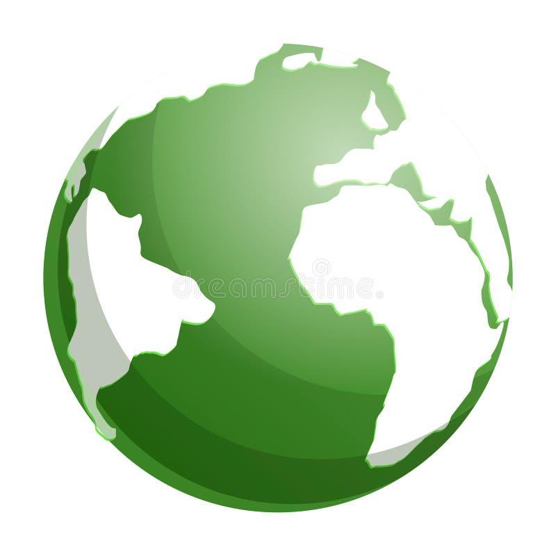 Зеленый значок земли глобуса, стиль мультфильма иллюстрация вектора