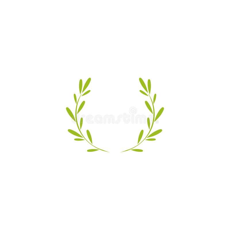 Зеленый значок лаврового венка Квартира вектора illustrationisolated на белизне бесплатная иллюстрация