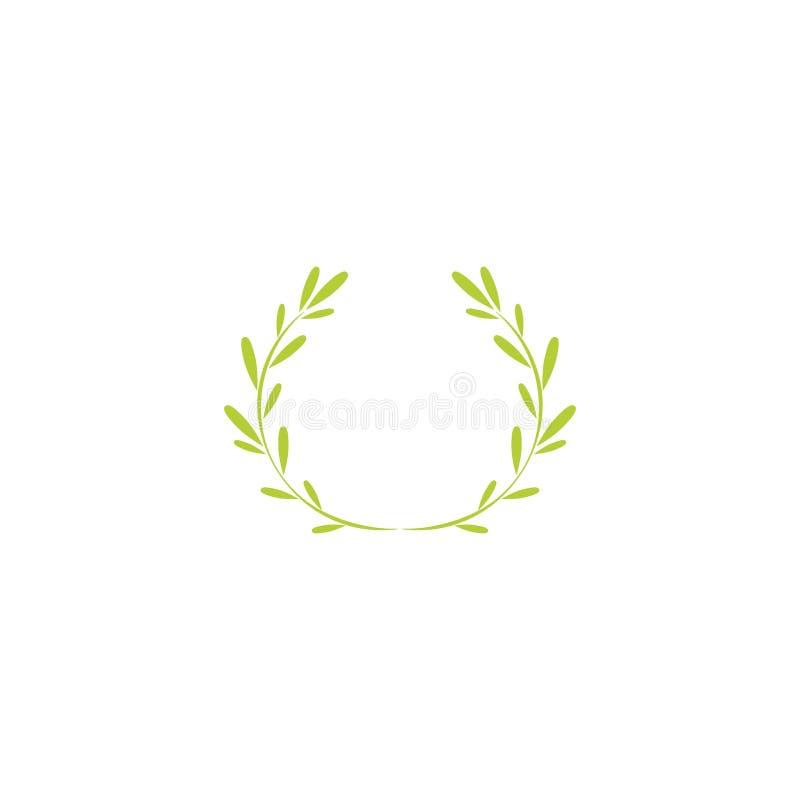 Зеленый значок лаврового венка Квартира вектора illustrationisolated на белизне иллюстрация штока