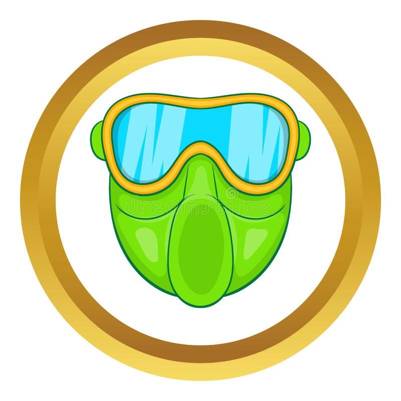 Зеленый значок маски пейнтбола иллюстрация вектора