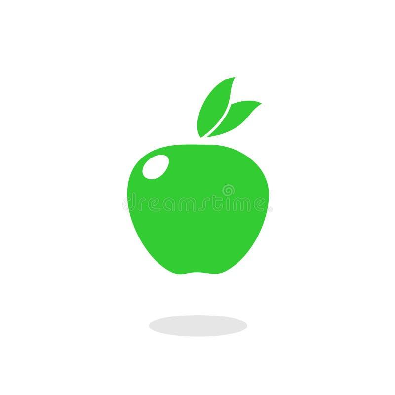 Зеленый значок плода яблока иллюстрация вектора