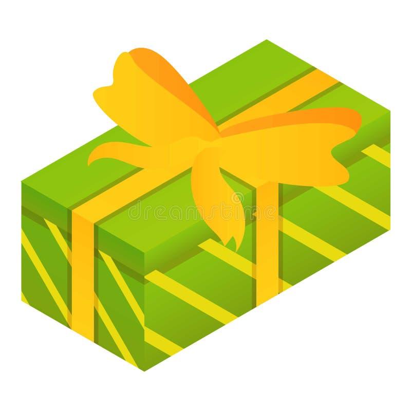 Зеленый значок подарочной коробки, равновеликий стиль иллюстрация штока