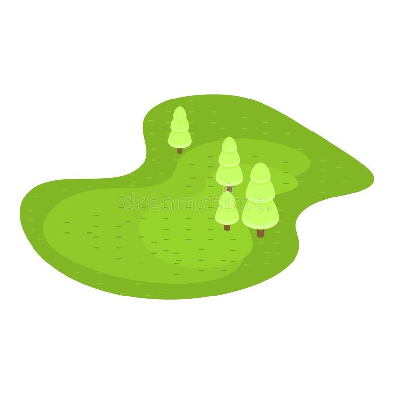 Зеленый значок поля гольфа, равновеликий стиль бесплатная иллюстрация