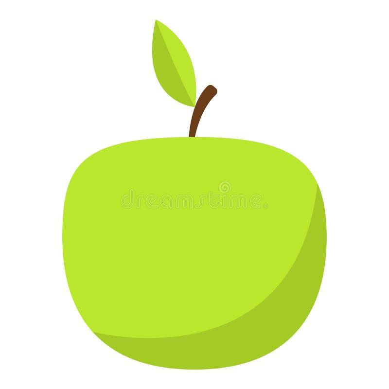 Зеленый значок яблока, плоский стиль иллюстрация вектора