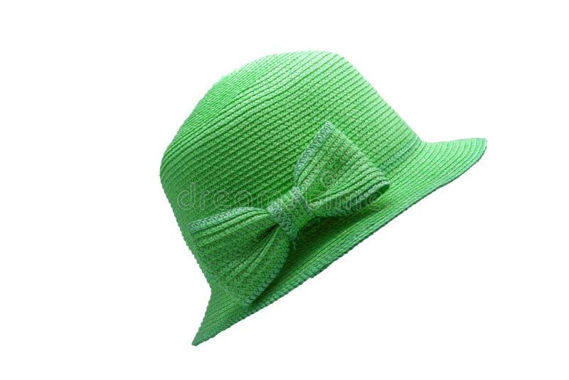 Зеленый изолят соломенной шляпы на белой предпосылке стоковая фотография rf