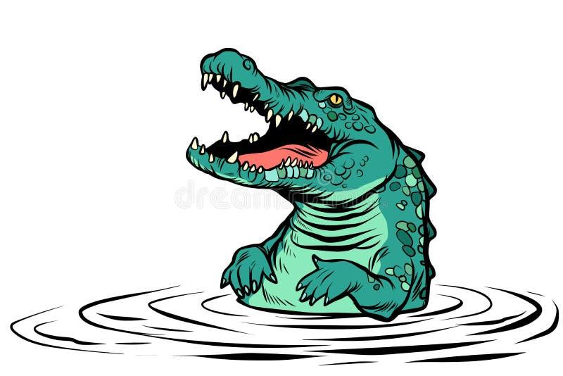 Зеленый изолят характера крокодила на белой предпосылке иллюстрация штока