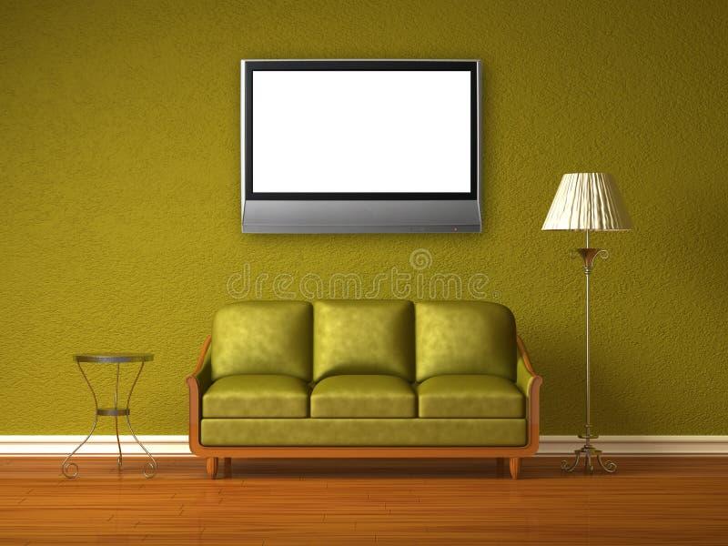 зеленый интерьер lcd tv бесплатная иллюстрация