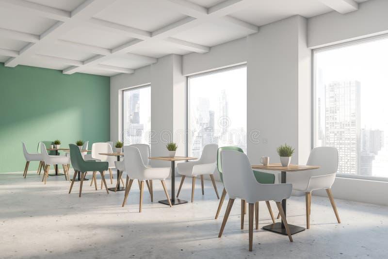 Зеленый и белый угол кафа просторной квартиры иллюстрация вектора