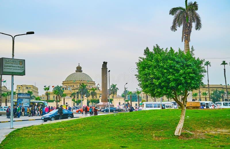 Зеленый квадрат Nahdet Masr в Гизе, Египте стоковые изображения