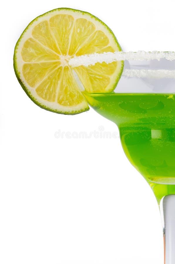 Зеленый коктеиль в конце-Вверх стекел Маргариты стоковое фото
