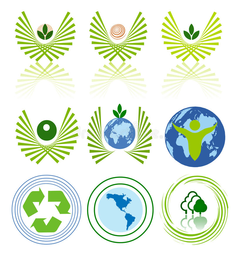 Зеленый комплект иконы энергии стоковые изображения