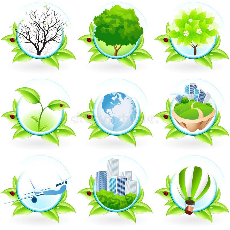 зеленый комплект иконы бесплатная иллюстрация