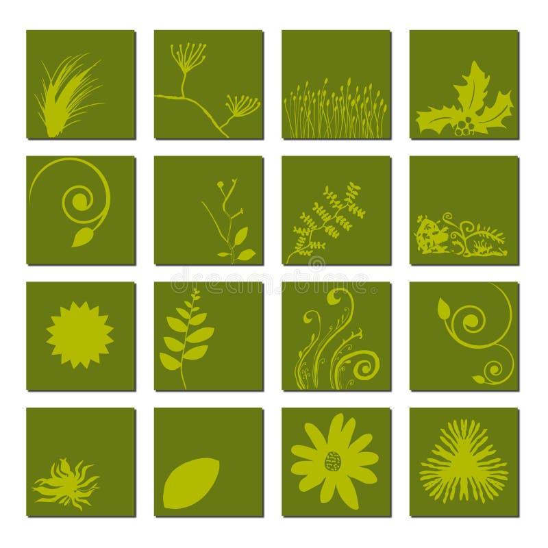 зеленый комплект листьев иконы иллюстрация вектора