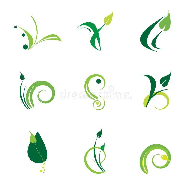 зеленый комплект логоса иллюстрация вектора
