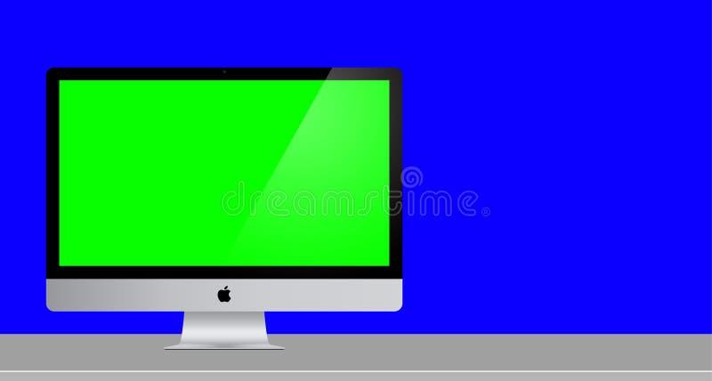 Зеленый компьютер Mac экрана с польностью голубой предпосылкой 3 стоковая фотография rf