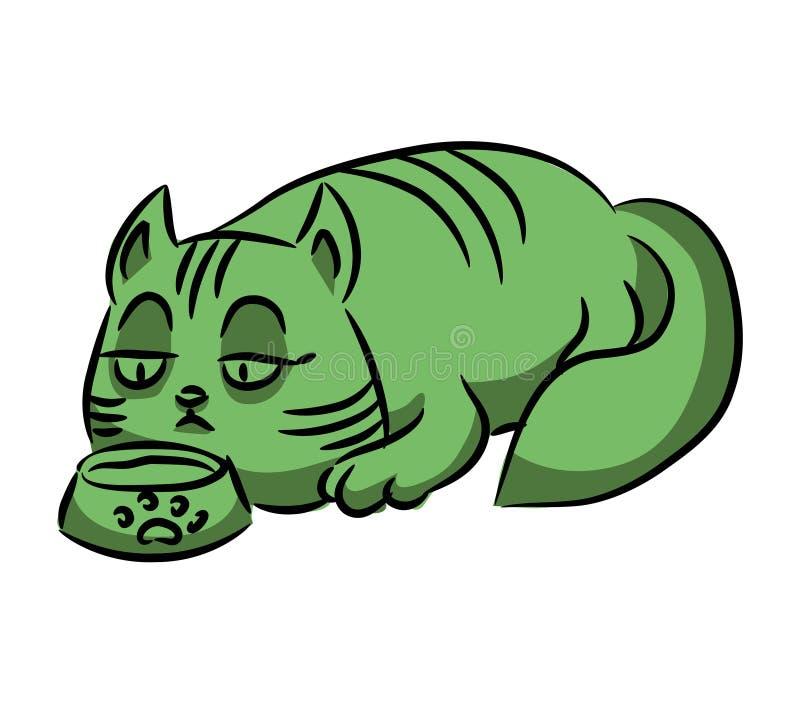 Зеленый кот ест от шара Серия придурковатых пестротканых котов иллюстрация штока