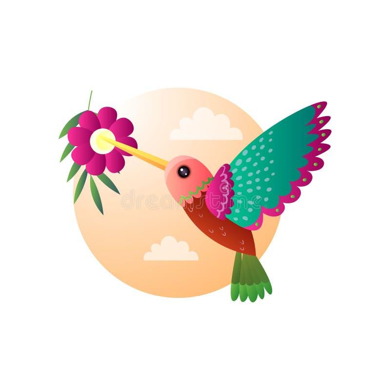 Зеленый красный небольшой колибри птицы с ярким оперением летая для того чтобы украсить дырочками цветок бесплатная иллюстрация