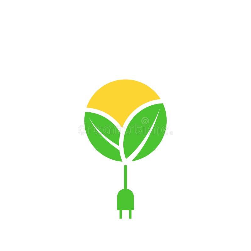 Зеленый логотип возобновляющей энергии, листья, солнце с кабелем со штепсельной вилкой, поручая значком силы eco, шаблоном дизайн иллюстрация штока