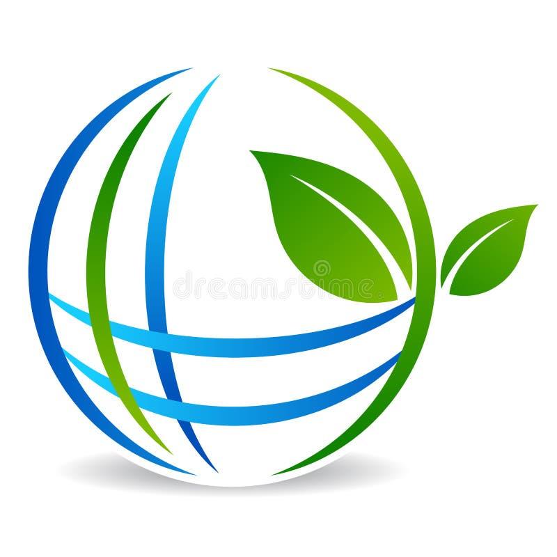 Зеленый логотип дерева глобуса с листьями иллюстрация вектора