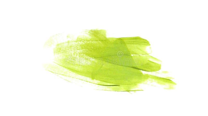 Зеленый мазок с краской масла, щеткой акварели стоковая фотография rf