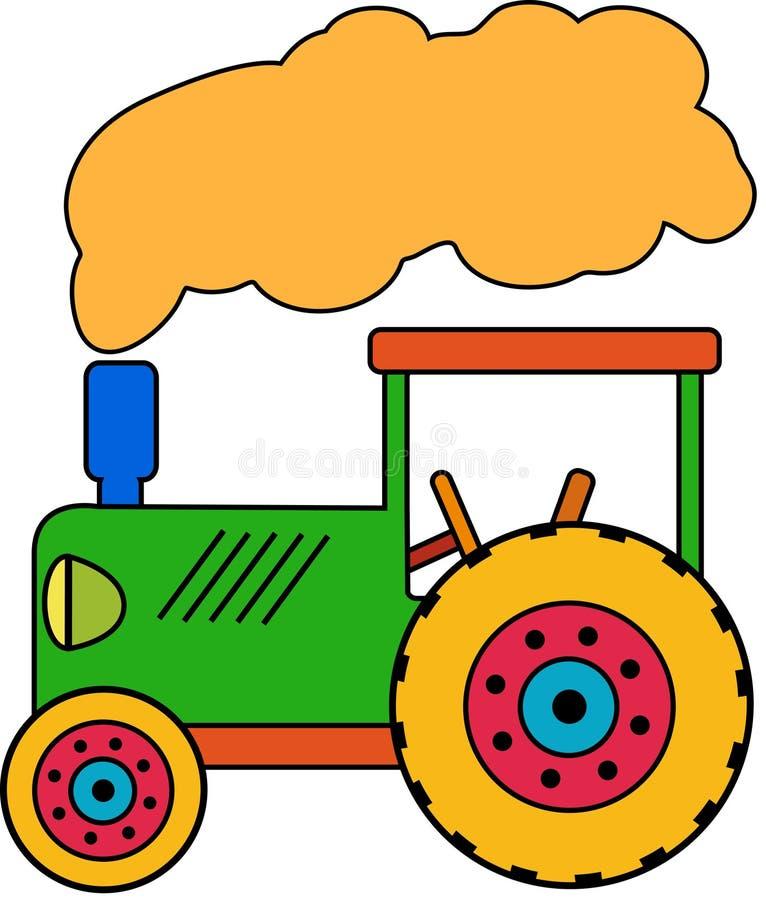 Зеленый маленький трактор игрушки стоковые изображения rf