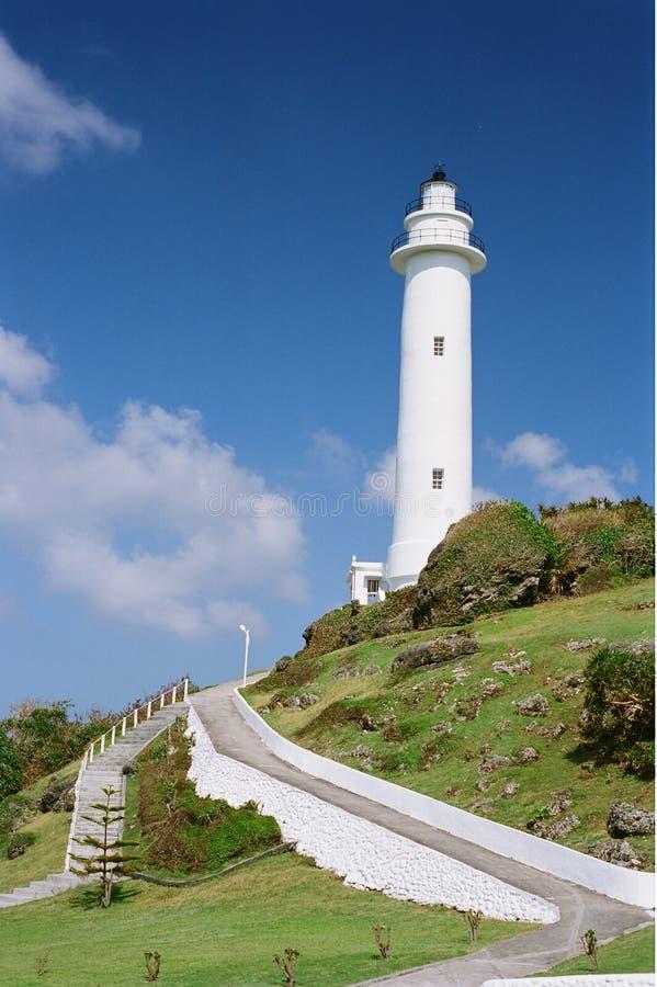 зеленый маяк острова стоковые фотографии rf