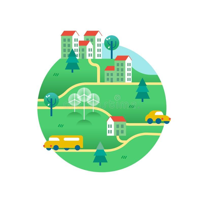 Зеленый мир с домами и переходом eco дружелюбным иллюстрация вектора
