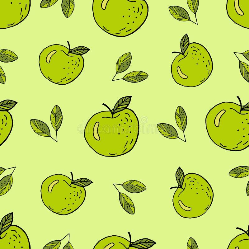 Зеленый мультфильм яблок иллюстрация вектора