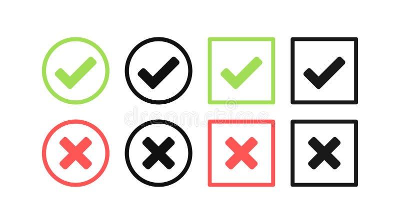 Зеленый набор контрольной пометки и значка Красного Креста Круг и квадрат Символ тикания в зеленом цвете, иллюстрации вектора иллюстрация вектора