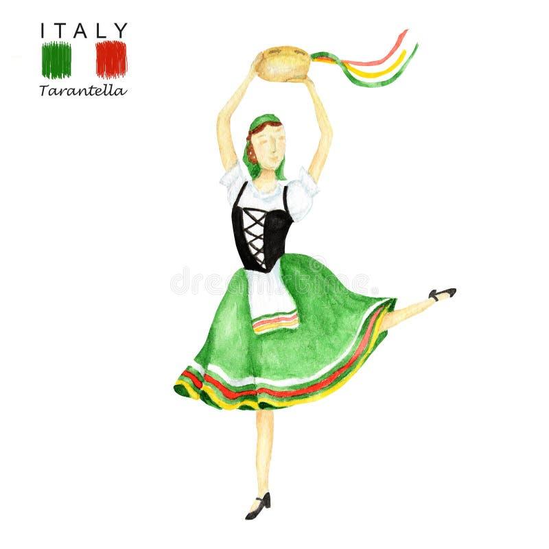 Зеленый национальный костюм танцуя итальянский tarantella с тамбурин на белой предпосылке Танцор женщины в красных людях стоковая фотография