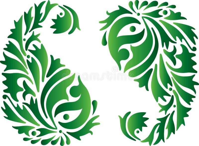 зеленый орнамент Индии иллюстрация штока
