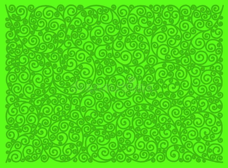 Зеленый орнамент на яркой ой-зелен предпосылке иллюстрация штока