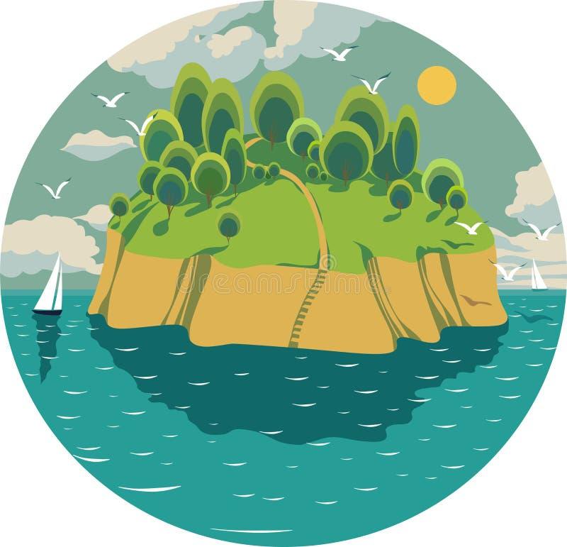 Зеленый остров в середине океана иллюстрация вектора